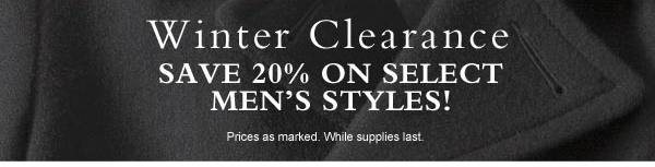 Save 20% on Select Men's Styles