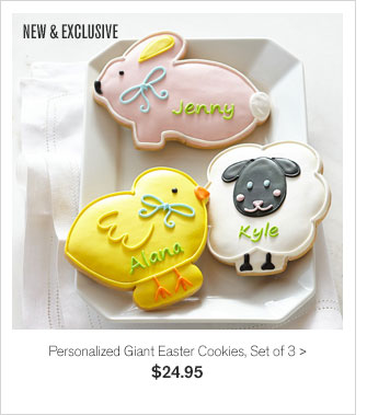NEW & EXCLUSIVE - Personalized Giant Easter Cookies, Set of 3 - $24.95