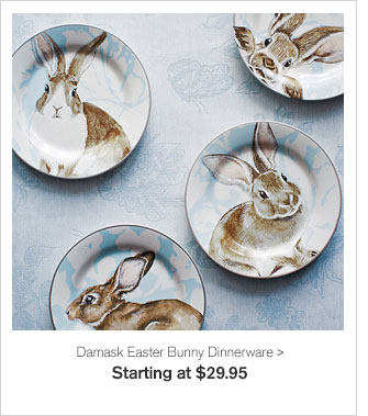 Damask Easter Bunny Dinnerware - Starting at $29.95