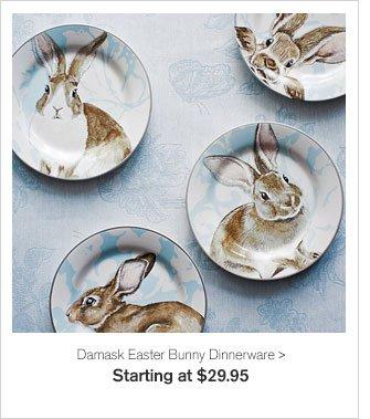 Damask Easter Bunny Dinnerware - Starting at $29.95