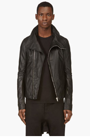 RICK OWENS Black Hidden Pocket Biker Jacket for men