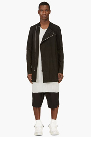 RICK OWENS Black Lambskin Tunic Jacket for men