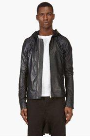 RICK OWENS Navy Lambskin Hooded Biker Jacket for men