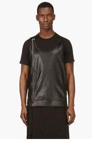 RICK OWENS Black Leather Tunic Vest for men