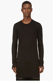 RICK OWENS Black Long-Sleeve Tunic T-Shirt for men
