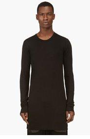 RICK OWENS Black Long-Sleeve Tunic T-Shirt for men