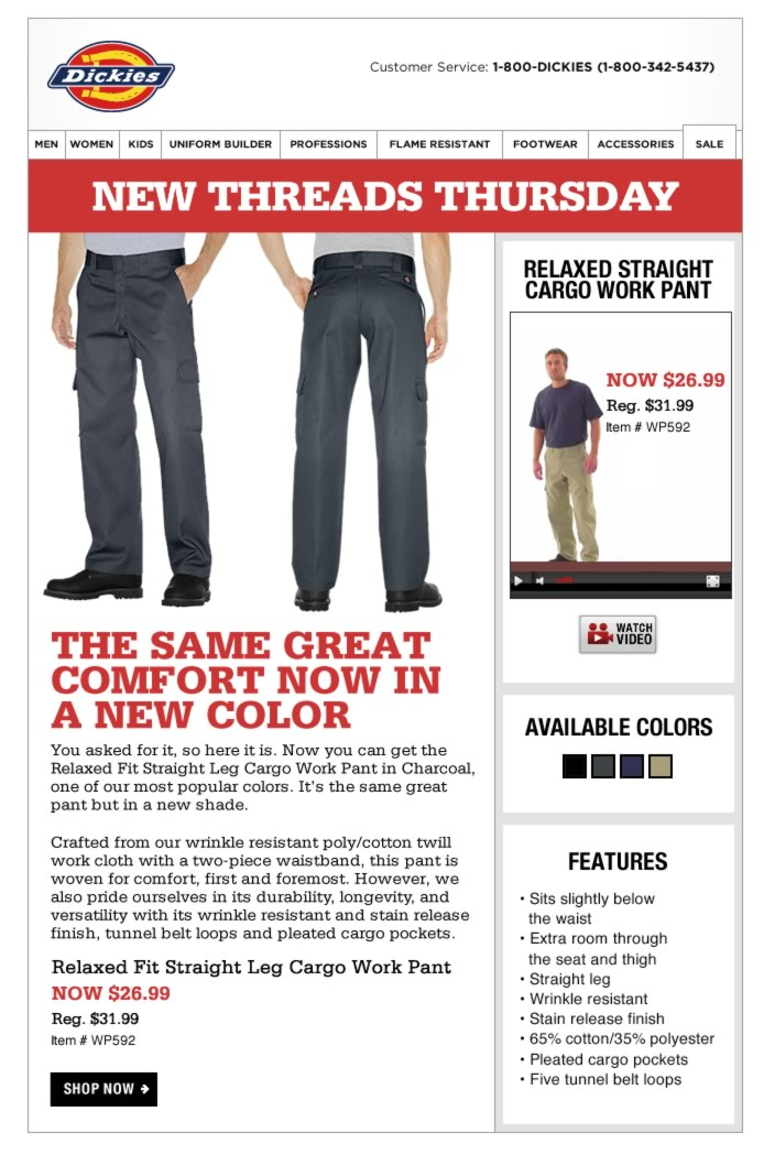 New Threads Thursday: Relaxed Fit Cargo Pant Now in Charcoal