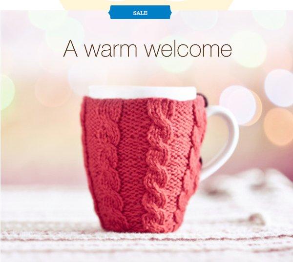SALE. A warm welcome.