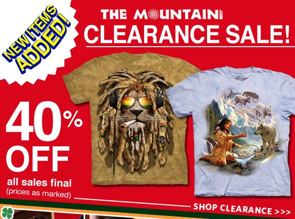 Clearance Sale! 40% Off. New Items Added! All sales final (prices as marked)