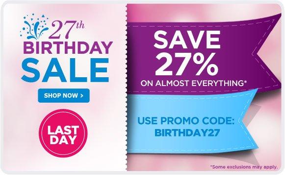 27th BIRTHDAY SALE