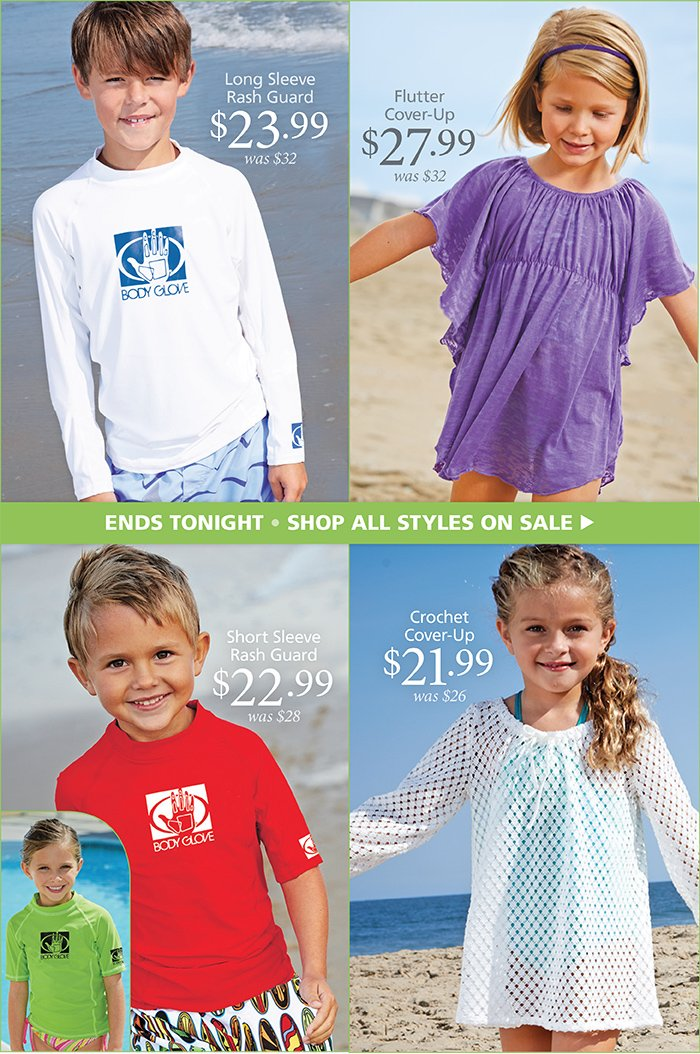 Rash Guards and Cover Ups Now on Sale, Ends Tonight