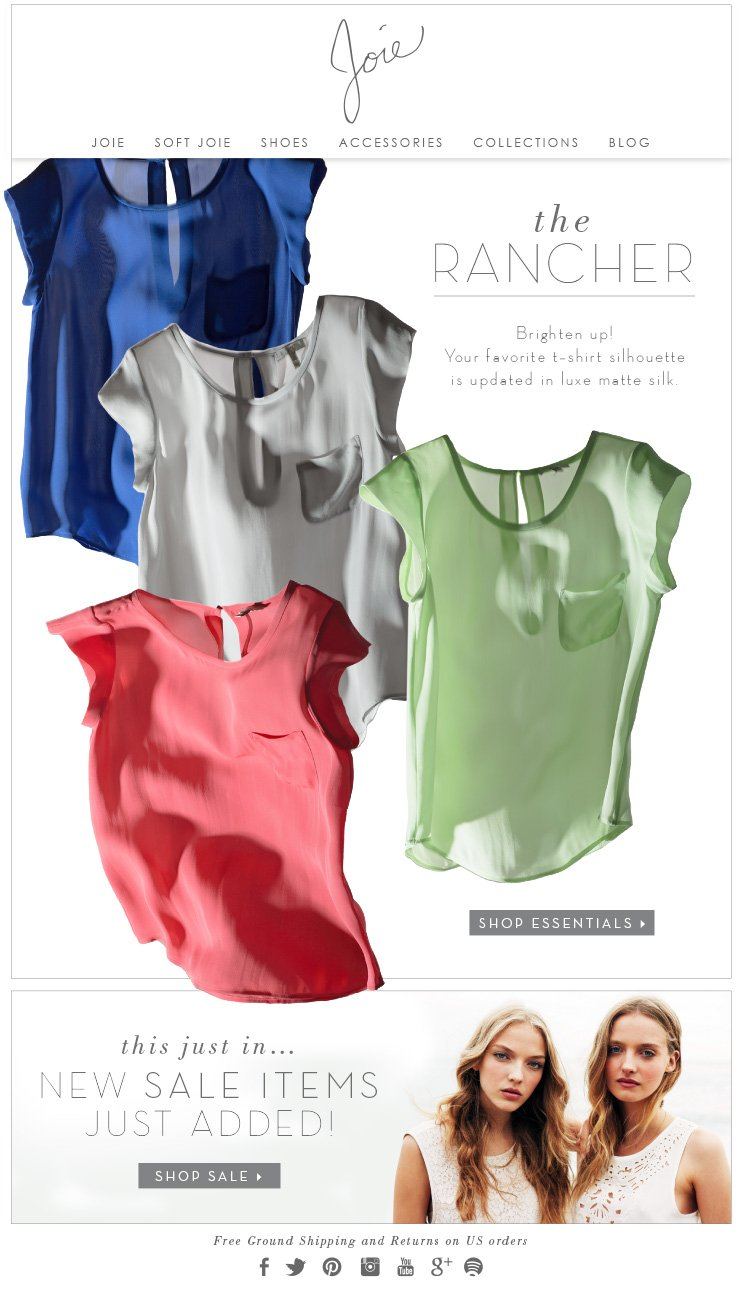 THE RANCHER BRIGHTEN UP! YOUR FAVORITE T-SHIRT SILHOUETTE IS UPDATED IN LUXE MATTE SILK