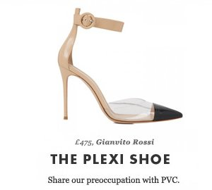 £475, Gianvito Rossi  - THE PLEXI SHOE - Share our preoccupation with PVC.