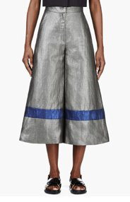 ROKSANDA ILINCIC Grey Metallic Cropped Wide-Leg Craven Trousers for women