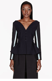 ROKSANDA ILINCIC Dark Navy Contrast-sleeved Selby Jacket for women