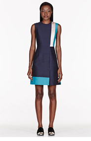 ROKSANDA ILINCIC Black & Teal patchworked Dupion Kilton Dress for women