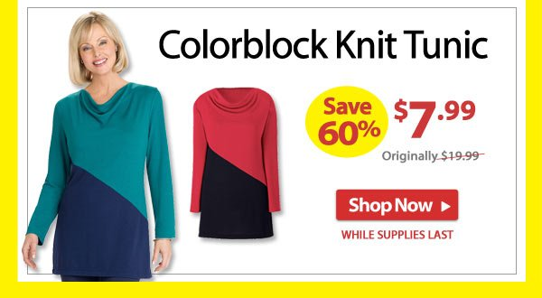 Save 60% - Colorblock Knit Tunic - Now Only $7.99 - Shop Now >>
