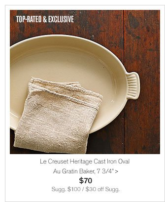 "TOP-RATED & EXCLUSIVE - Le Creuset Heritage Cast Iron Oval Au Gratin Baker, 7 3/4"" - $70 - Sugg. $100 / $30 off Sugg."