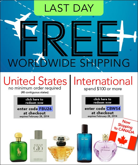 Free Worldwide Shipping* - Ends Today!
