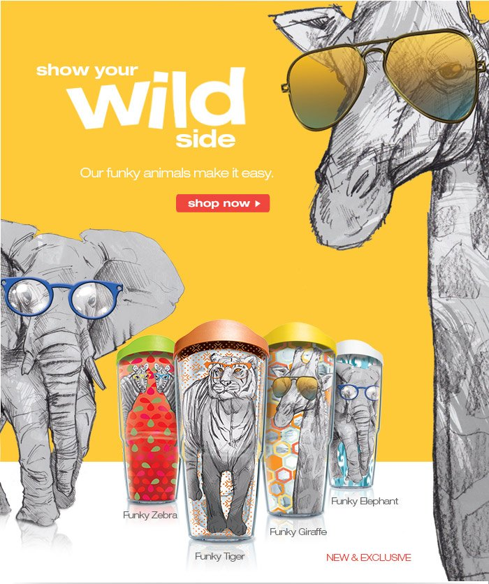 show your wild side with our new Funky Animals collection