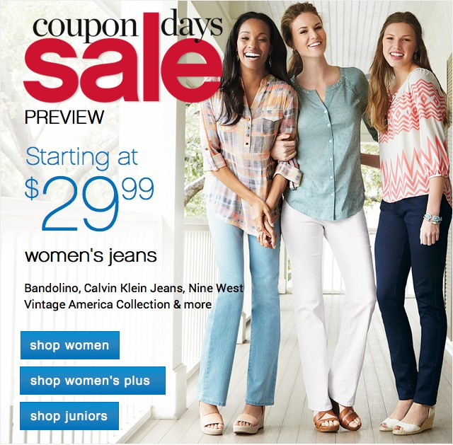 Coupon Days Sale. Starting at 29.99 women's jeans. Shop now.