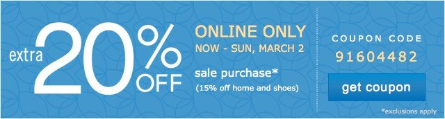 Online Only. Extra 20% off. Get coupon.