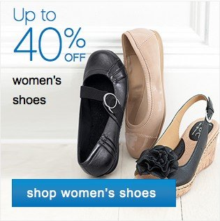 Up to 40% off women's shoes. shop woemn's shoes.