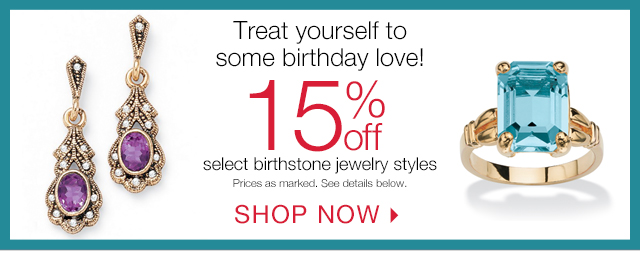 15% off select birthstone styles