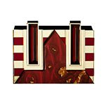 Elettra Clutch in Burgundy and Gold