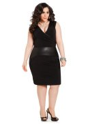 Faux Leather Trim Sleeveless Wrap Dress