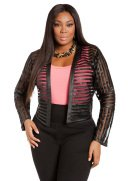 Faux Leather & Mesh Crop Jacket