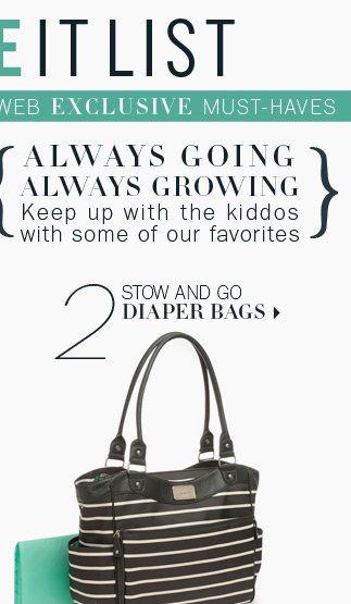 2. Stow and go diaper bags.
