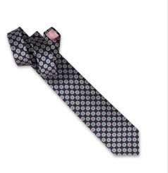 Holywell Flower Woven Tie - Navy/Grey
