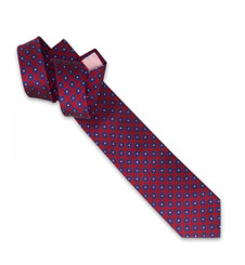 Holywell Flower Woven Tie - Red/Blue