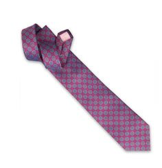 Holywell Flower Woven Tie - Pink/Grey