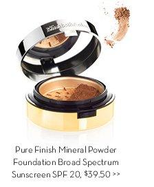 Pure Finish Mineral Powder Foundation Broad Spectrum Sunscreen SPF 20, $39.50.