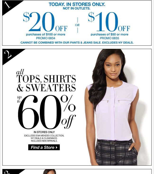 Save $20 + Up to 60% Off All Tops, Shirts, & Sweaters! In Stores Only.