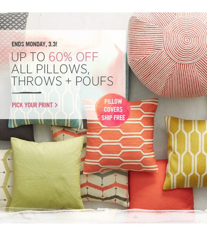 Ends Monday, 3.3! Up to 60% off all pillows, throws + poufs. Pick your print.
