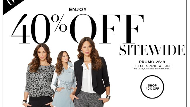40% Off Online Only!