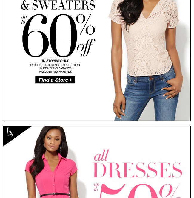 Up to 60% Off Tops, Shirts, & Sweaters + Up to 50% Off Dresses