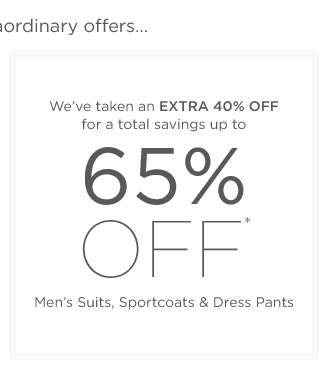 Up to 65% off Men's Suits & more
