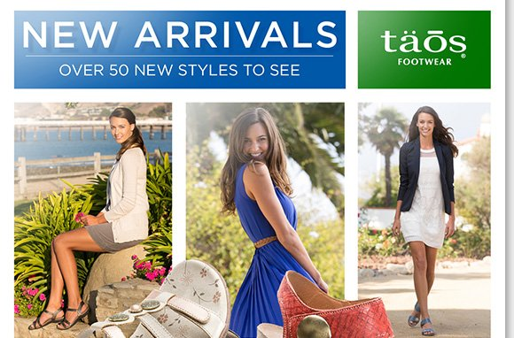 Discover the style and comfort of the NEW Taos footwear arrivals! Featuring sandals, wedges, and more distinct styles infused with comfort features including cork and rubber midsoles, and contoured footbeds, shop over 50 new styles online and in stores at The Walking Company.