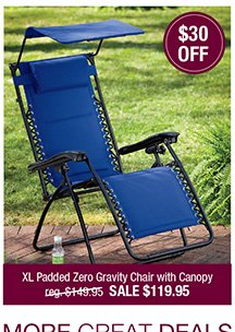 XL Padded Zero Gravity Chair with Canopy