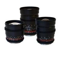 Adorama - Rokinon Three Cine Lens Bundle with 24mm T1.5 Cine Lens, 35mm T1.5 Cine Lens, and 85mm T1.5 Cine Lens