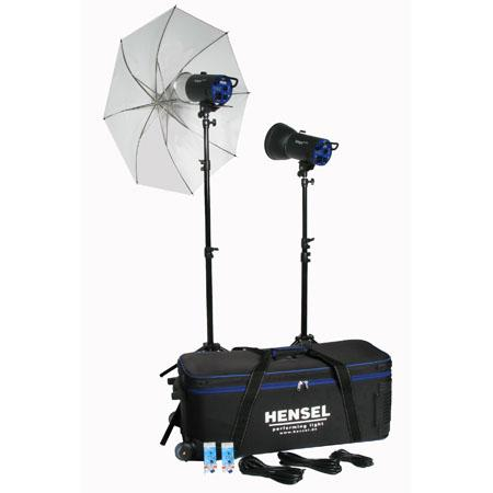 Adorama - Hensel Integra Mini 600 2 Light Kit, with 2 Mini 300 Monolights, Umbrella, Stands and Rolling Case