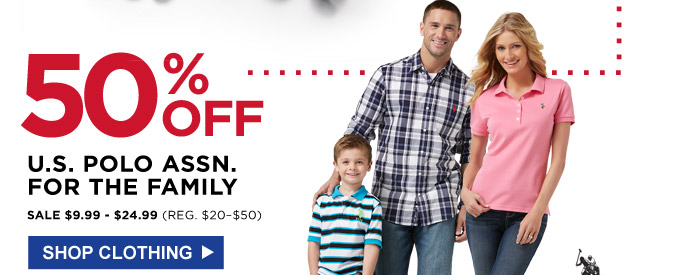 50% off U.S. Polo Assn. for the family | Sale $9.99 - $24.99 (Reg. $20 - $50) | Shop clothing