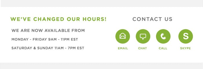we've changed our hours!