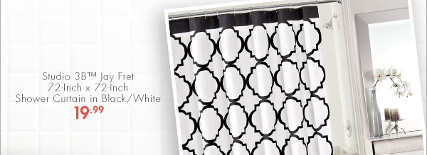 Studio 3B™ Jay Fret 72-Inch x 72-Inch Shower Curtain in Black/White 19.99