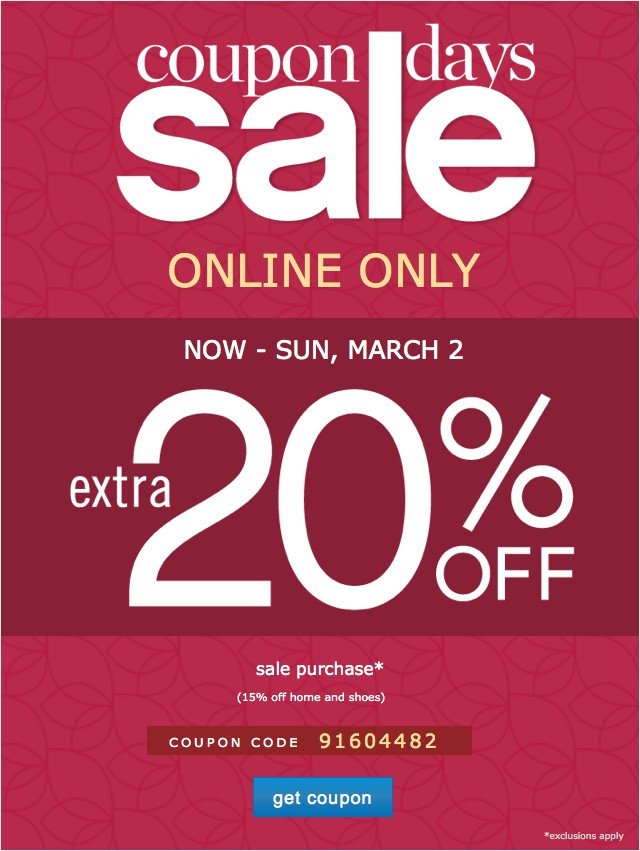 Coupon Days. Online Only. Extra 20% off. Get coupon.