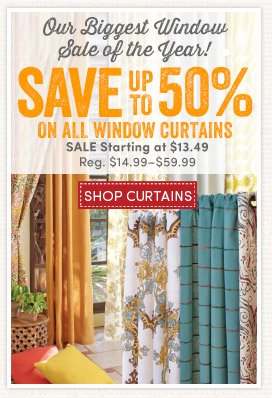 Save up to 50% on Window Curtains